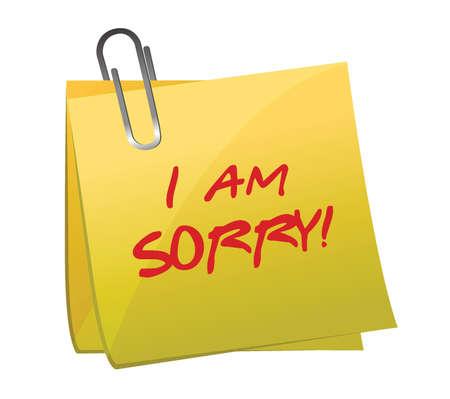 pardon: Je suis désolé un message sur un design illustration poste qu'il Illustration