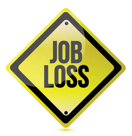 downsized: job loss sign illustration design over a white background