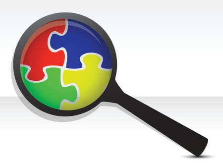 puzzelstukken onder vergrootglas illustratie over wit Vector Illustratie