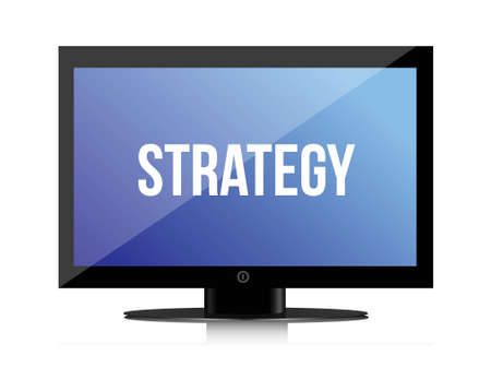 fondos: strategy message on monitor illustration design over white