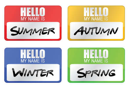 clime seasons name tags illustration design over white