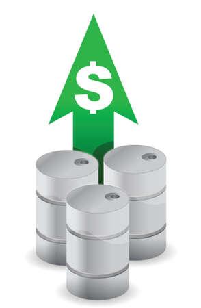 oil prices going up illustration design over white