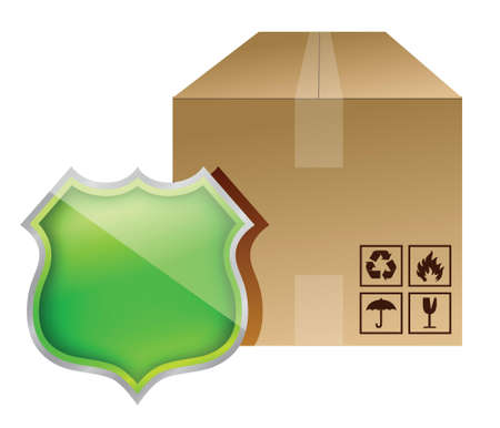 shield box protection illustration design over white Vector