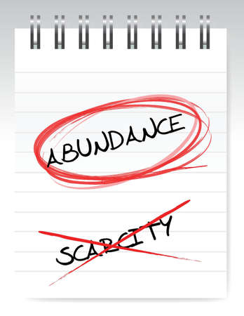 abundance vs scarcity illustration design over a white notepad Stock Vector - 16667107