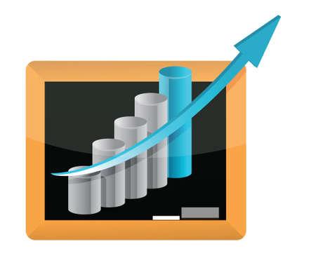 stock market crash: blackboard business graph banner illustration design graphic Illustration