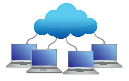 laptops connected to cloud illustration design over white Stock Vector - 16667070