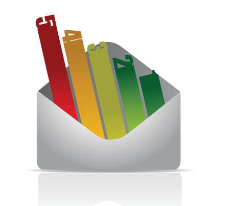 envelope number graph illustration design over white Stock Vector - 16667111