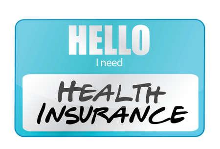 nametag: health insurance name tag illustration design over white