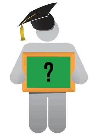 education presentation question illustration design over white Stock Vector - 16667131