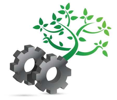 gear and tree eco concept illustration design over white Stock Vector - 16667116