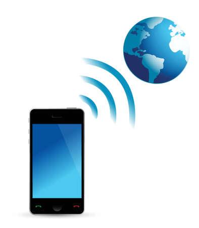 phone and globe wifi illustration design over white Stock Vector - 16667125