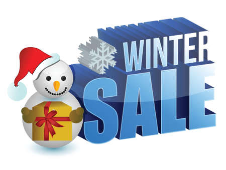 winter sale snowman sign illustration design over a white background Stock Vector - 16667137