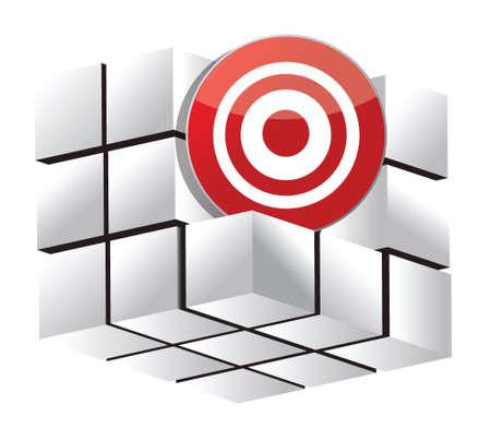 stimulus: 3d target cube illustration design over a white background design
