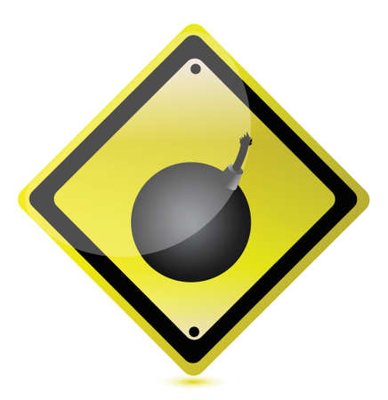 bomb ahead sign illustration design over a white background Vector