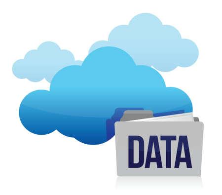 cloud and folder data storage illustration design over white