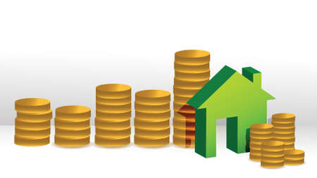 detached house: house coin graph illustration design over a white background design Illustration