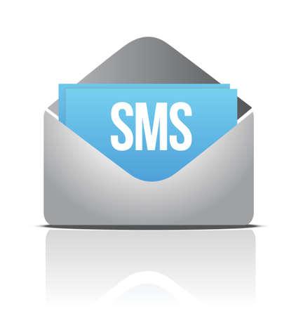 sms envelope message illustration design over a white background Stock Vector - 16692125