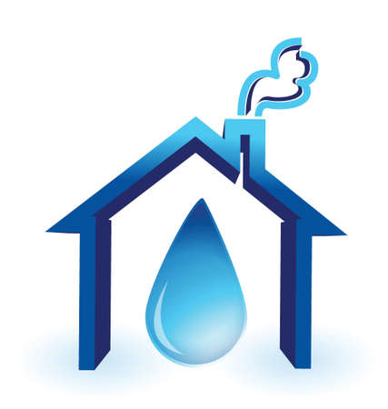 water in house badge illustration design over a white background Stock Illustratie