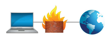 laptop firewall protection illustration design over a white background Иллюстрация