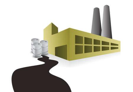 oilwell: factory oil spill illustration design over a white background