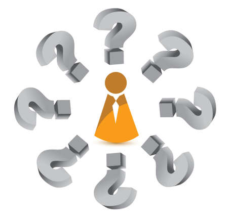 question mark around an icon illustration design over white Stock Vector - 16692132