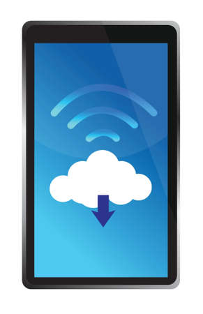 cloud storage: tablet connected to a wifi cloud illustration design over white