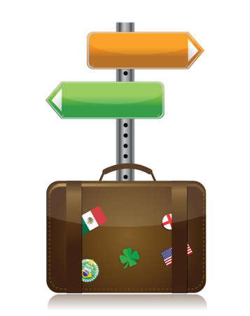 suitcase with destination sign illustration design over white Stock Vector - 16692134