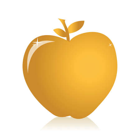 golden apple: golden apple illustration design over a white background