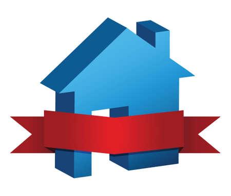 blauwe huis en rode banner illustratie ontwerp over een witte achtergrond