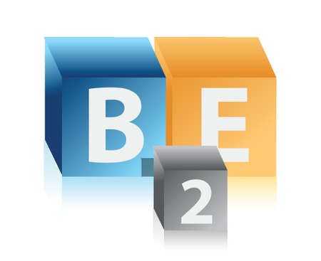 b2e: business to employees cubes illustration design over white