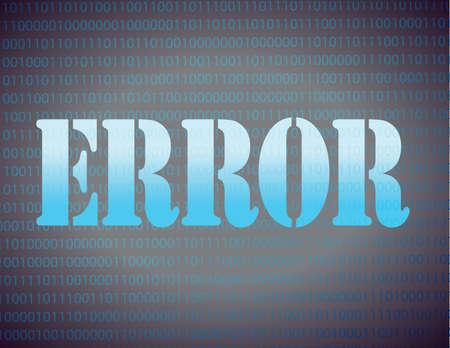 foutmelding over een binaire afbeelding ontwerp achtergrond Stock Illustratie