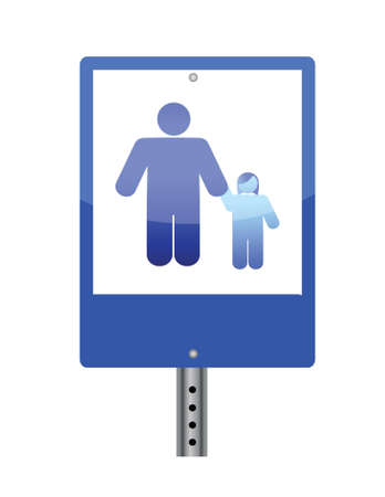 family crossing sign illustration design over white