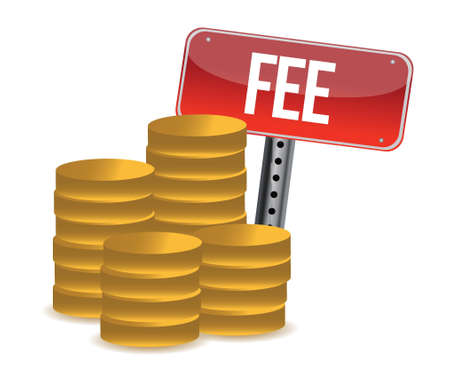 honorarios: concepto de cuota monetaria dise�o ilustraci�n sobre un fondo blanco