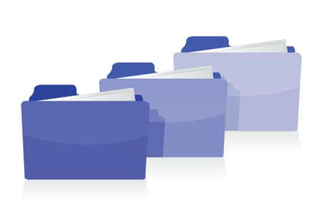 set of blue folders illustration design over a white background