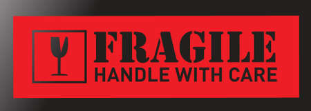 fragile sign illustration sticker design over a black background