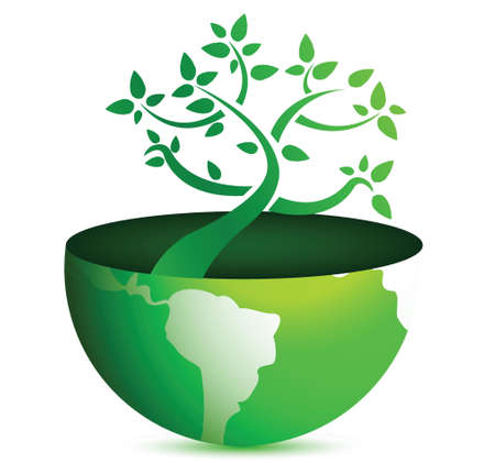 globe tree illustration design over a white background Stock Vector - 16712145