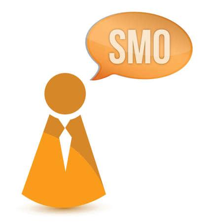 smo: businessman smo message illustration design over a white background