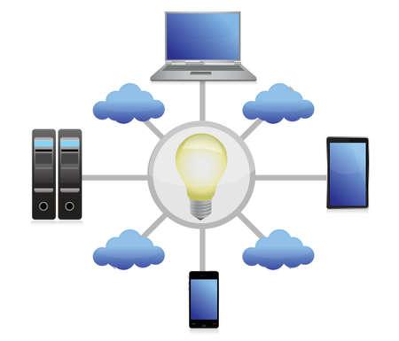 technology idea network illustration design over white Stock Vector - 16712132