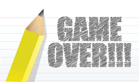game over: game over written on a notepad paper illustration design