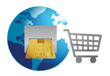 e commerce: shopping around the world concept illustration design over white Illustration