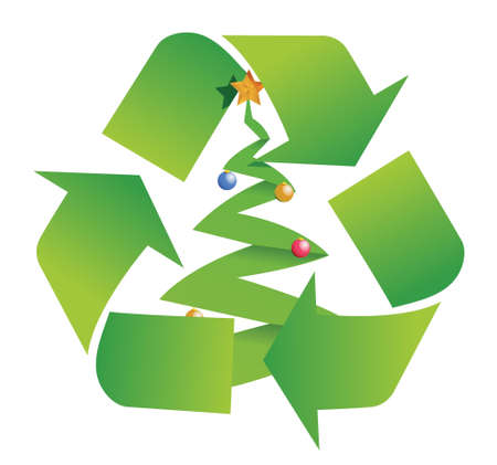 recycle tree illustration design over a white background Vector