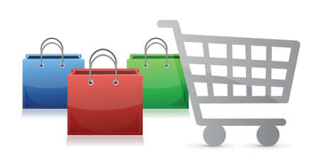 shopping bags and a shopping cart illustration design over a white background Vector