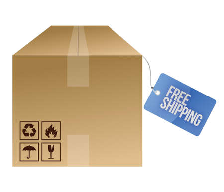 free shipping tag and box illustration design over white