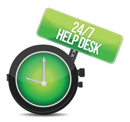help desk 24 - 7 illustration design over a white background Stock Vector - 16712153