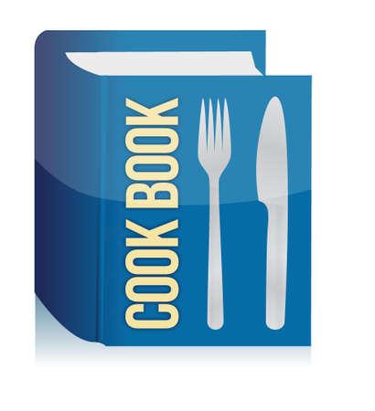 kookboek en keukengerei illustratie ontwerp op een witte achtergrond