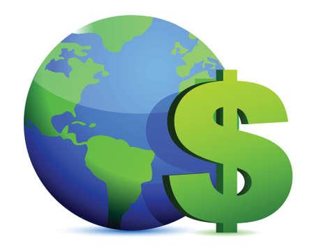 fund world: dollar currency around the globe illustration design graphic Illustration