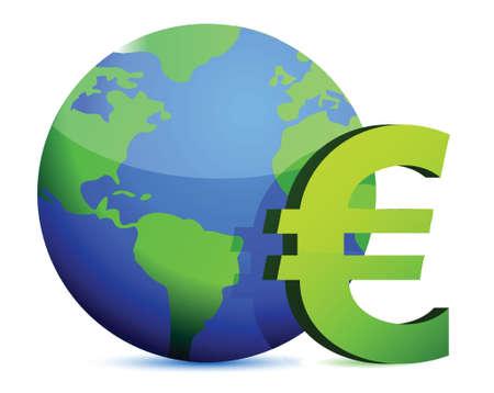 fund world: euro currency around the globe illustration design graphic