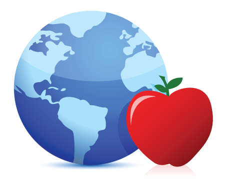 healthy eating around the globe concept illustration design over white Vector