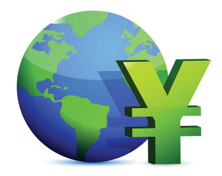 token: yen currency around the globe illustration design graphic Illustration