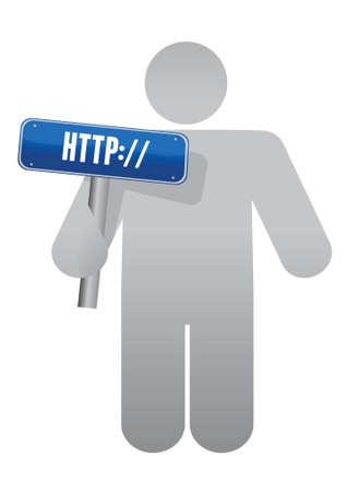 holding sign http. Internet concept. illustration design Vector